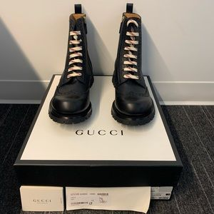Gucci black lace up boots, size 12